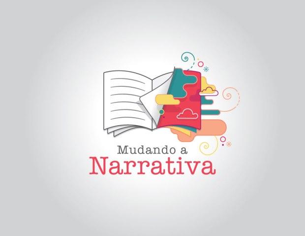 Marca criada para o projeto Mudando a Narrativa, um livro virando a página, revelando uma nova página colorida, com diversos elementos lúdicos.